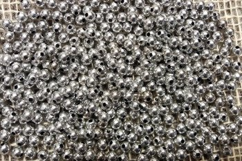 Koraliki błyszczące średnica 6 mm kolor srebrny