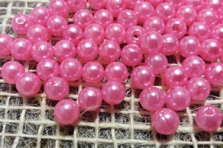 Koraliki błyszczące średnica 6 mm kolor różowy