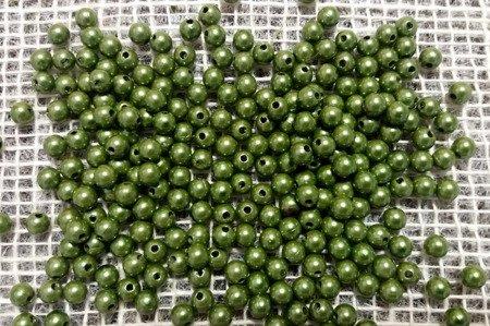 Koraliki błyszczące średnica 6 mm kolor zielony (oliwkowy)