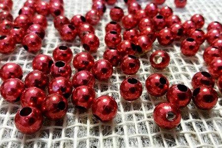 Koraliki błyszczące średnica 8 mm kolor czerwony