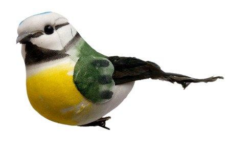 Ptaszek dekoracyjny zielony z niebieskim łebkiem